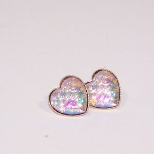 Heart shaped mermaid scale earrings